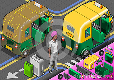 Isometric Indian Rickshaw in Rear View