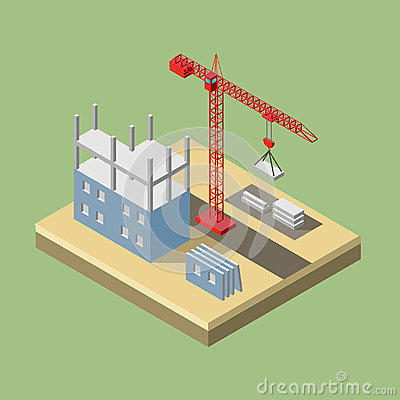 Free Isometric Industrial Crane For Construction. Stock Images - 95311394