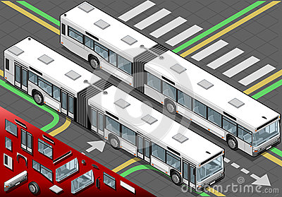 Isometric Long Bus in Front View