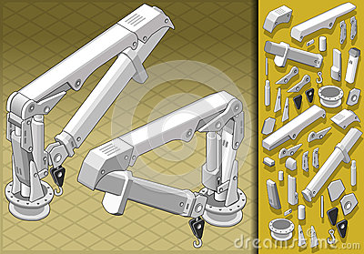 Isometric mechanical arm in two positions
