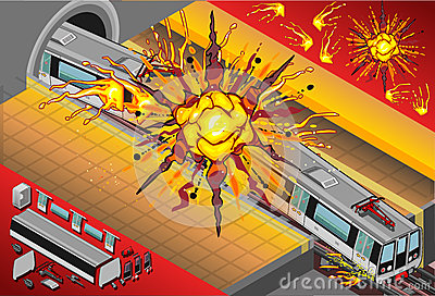 Isometric Metro Wagons Exploded in the Station