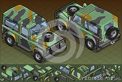 Isometric military vehicle in two position