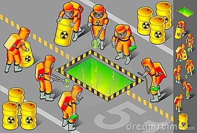 Isometric nuclear area with six man at work