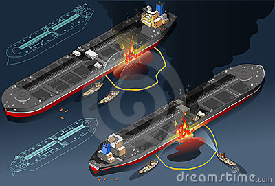 Isometric oil tanker fire disaster in two position