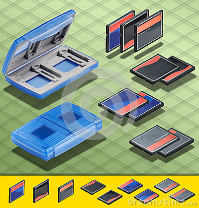 Isometric Photograph - Set of  3 CF card and a Blu