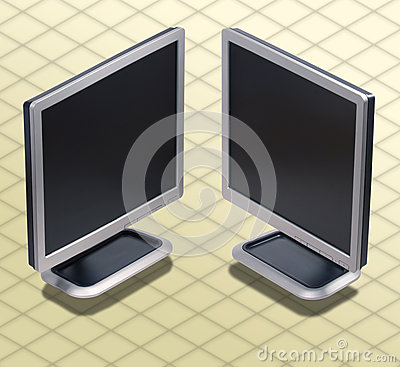 Isometric Photograph - Set of two position LCD mon
