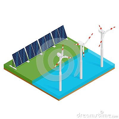 Free Isometric Plant Solar Panels And Offshore Wind Turbines. Eco Renewable Electric Energy Concept. Royalty Free Stock Image - 132078866