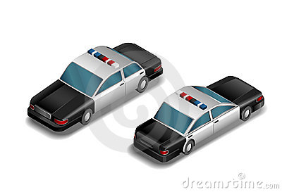 Isometric police car- vector