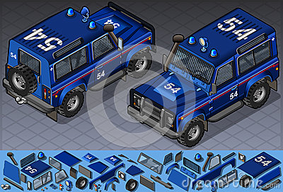 Isometric police Off-Road Vehicle in two position