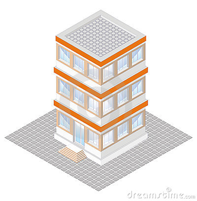 Free Isometric Projection Of A Three-storey Building Royalty Free Stock Photography - 18700537