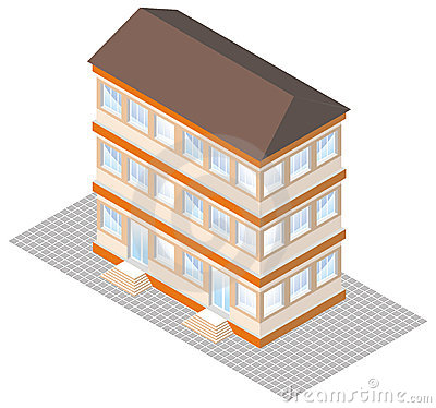 Free Isometric Projection Of A Three-storey Building Royalty Free Stock Image - 19548606