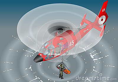 Isometric red helicopter in flight in rescue