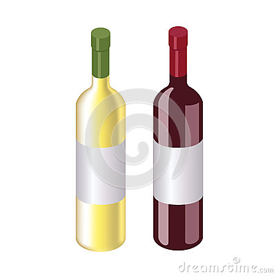 Isometric red and white wine bottles isolated on white Vector Illustration