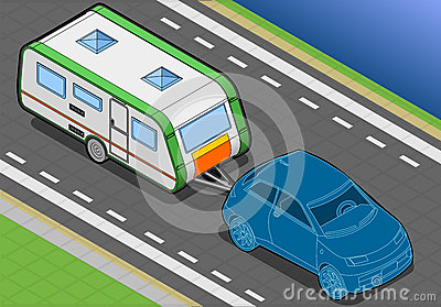 Isometric Roulotte and Car in Font View
