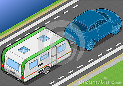 Isometric Roulotte and Car in Rear View