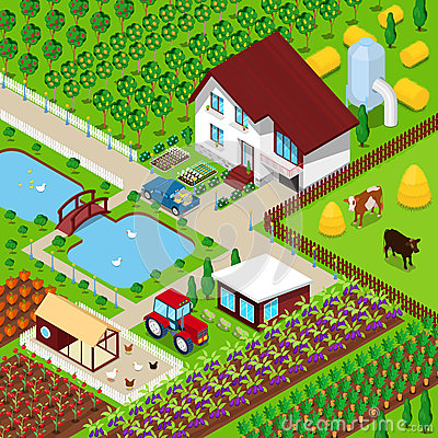 Free Isometric Rural Farm Agricultural Field With Animals And House Royalty Free Stock Photo - 80577295