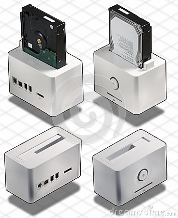 Isometric set of External White HardDisk box