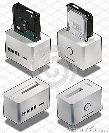 Isometric set of External White HardDisk box