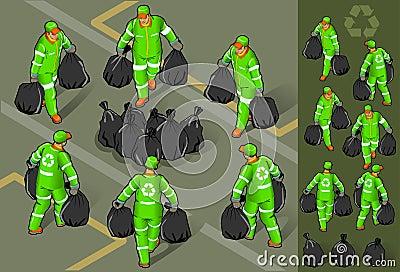 Isometric set of garbage man