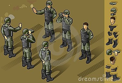 Isometric set of military people standing