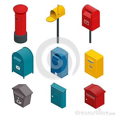 Isometric set of a post box or written postbox, collection box, mailbox, letter box or drop box. Flat vector colourful Vector Illustration