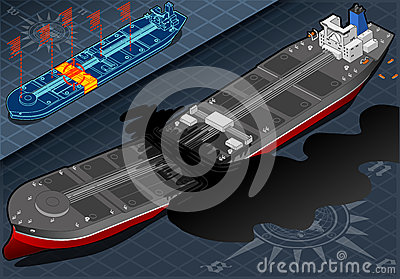 Isometric  Ship Tanker Destroyed in Two Parts in Front View