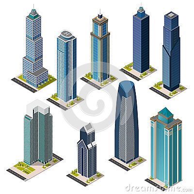 Free Isometric Skyscraper City Landmarks Set. Isolated Flat Megapolis Office Buildings. Stock Photos - 77655903