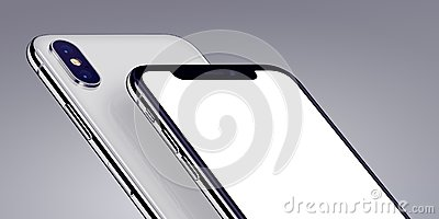 Similar to iPhone X isometric smartphones mockup close-up cropped on gray background Stock Photo