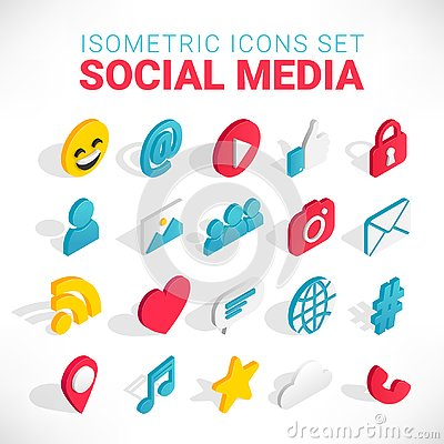 Isometric social media icons set Vector Illustration