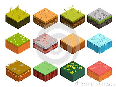 Isometric Soil Layers diagram Vector Illustration