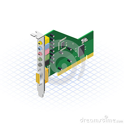 Free Isometric Sound Card Vector Illustration Stock Photography - 43693142