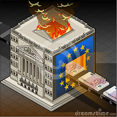 Isometric Stock exchange burning euro