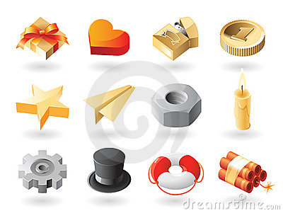 Isometric-style miscellaneous icons
