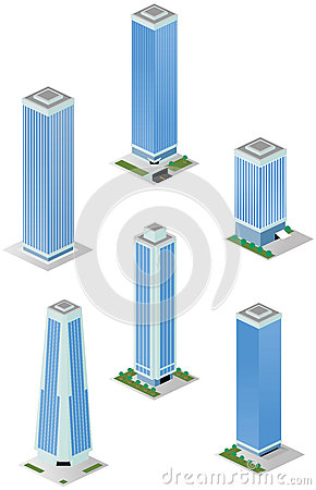 Isometric Tall City Office Buildings