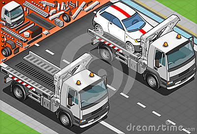 Isometric Tow Truck in Car Assistance in Front Vie