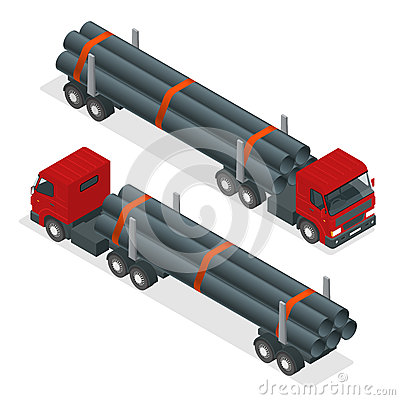 Free Isometric Truck Tractor With Flatbed Trailer Hauling Pipe. Vector Infographic Element. Stock Images - 77367764