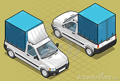 Isometric van pick up in two position