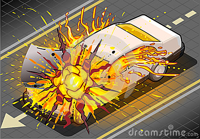 Isometric White Car in Explosion in Front view
