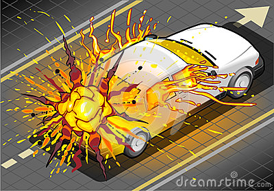 Isometric White Car in Explosion in Rear view