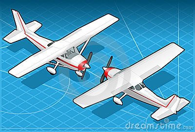 Isometric white plane in two position