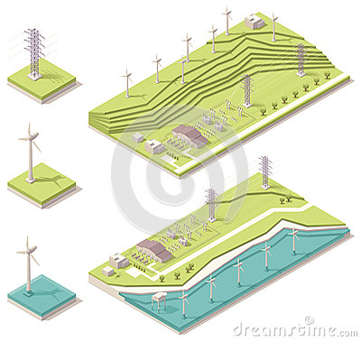 Free Isometric Wind Farm Stock Photos - 31384423