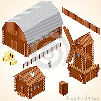 Isometric Wooden Cabins and House. Vector Clip Art