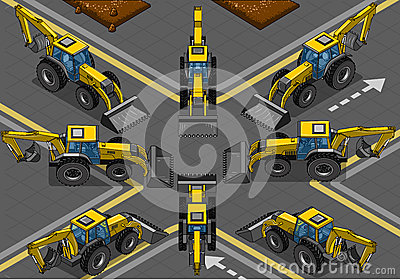 Isometric Yellow Backhoe in Eight Positions