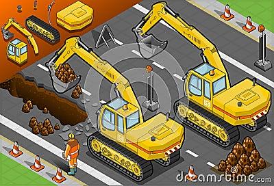 Isometric yellow excavator in rear view