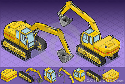 Isometric yellow excavator in two position