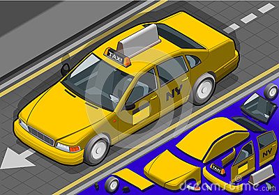Isometric Yellow Taxi in Front View