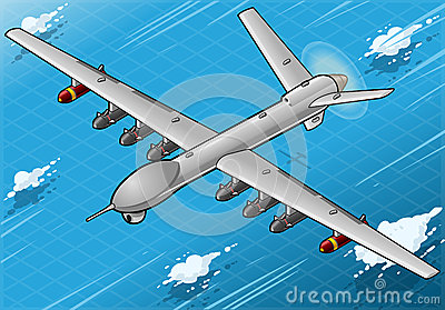 Isometrisch Hommelvliegtuig die in Front View vliegen