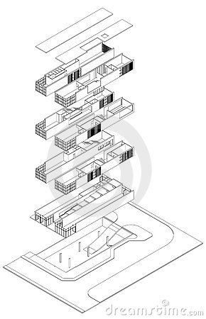 Isometrische Explosionszeichnung Lizenzfreie Stockbilder
