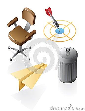 Isometrische pictogrammen voor bureautijd