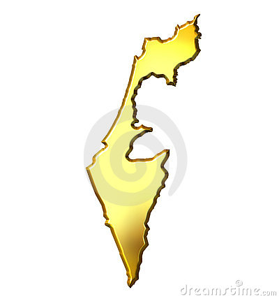 Israel 3d Golden Map